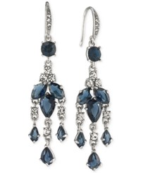 Carolee Silver Tone Blue And Clear Crystal Mini Chandelier Earrings