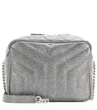 Saint Laurent Classic Small Loulou Monogram Metallic Leather Bag Silver