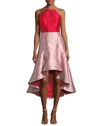 Phoebe Couture Colorblock High Low Midi Gown Cherry