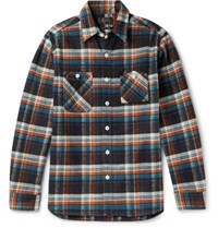 Beams Plus Slim Fit Checked Cotton Flannel Shirt Charcoal