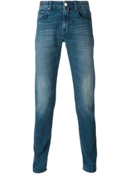 Pt05 Stone Washed Slim Fit Jeans Blue
