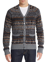 Prps Wool And Mohair Blend Cardigan Grey