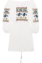 Needle And Thread Off The Shoulder Embroidered Cotton Poplin Mini Dress White