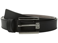 Michael Michael Kors 32Mm Leather Belt With Saffiano Contrast Strip On Semi Wrap Mk Buckle Black Women's Belts