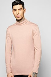 Boohoo Long Sleeve Jersey Roll Neck Top Pink