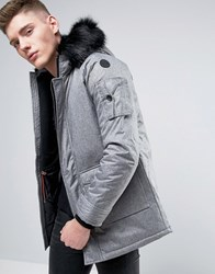 Native Youth Padded Parka With Faux Fur Grey