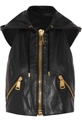 Moschino Hooded Leather Vest Black
