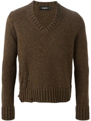 Dsquared2 V Neck Sweater Brown