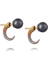 Katie Rowland Desi 18 Karat Gold And Sterling Silver Pearl Earrings Metallic