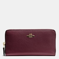Coach Accordion Zip Wallet In Polished Pebble Leather Light Gold Oxblood