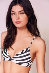 Out From Under Variegated Stripe Triangle Bikini Top Black And White