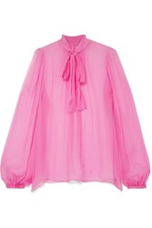 Dolce And Gabbana Pussy Bow Silk Crepon Blouse Pink Gbp