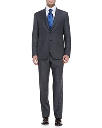 Brioni Checked Wool Two Piece Suit Gray Blue