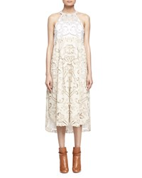 Chloe Embroidered Linen Cotton Lace Contrast Halter Dress Milk