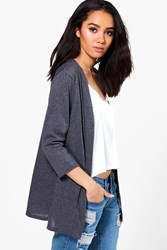 Boohoo Fran Light Weight Knit Cardigan Charcoal