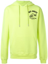 Off White Logo Print Hoodie Yellow Orange