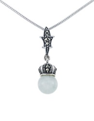 Lord And Taylor Sterling Silver Crown Pendant Necklace Green Silver