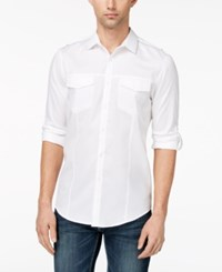 Inc International Concepts Men's Dobby Utility Shirt Created For Macy's White Combo