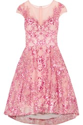 Marchesa Notte Embroidered Metallic Tulle Mini Dress Pink