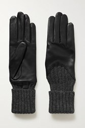 Agnelle Cecilia Leather And Ribbed Alpaca Gloves Black