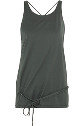Isabel Marant Lace Up Cotton Jersey Top Gray
