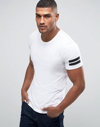 Jack And Jones Longline T Shirt With Curved Hem Arm Stripes White