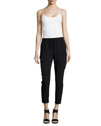 Stella Mccartney Iconic Taylor Drawstring Ankle Pants Black