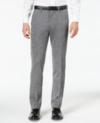 Bar Iii Men's Slim Fit Gray Stripe Knit Suit Pants Created For Macy's