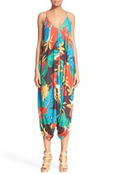 Women's Alice Olivia 'Frankie' Tropical Print Woven Jumpsuit