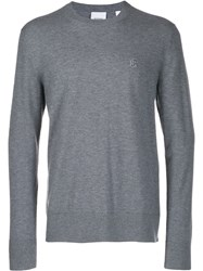 Burberry Crew Neck Knitted Jumper Grey