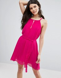 Jasmine Pleated Dress With Keyhole Dress Pink