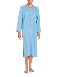 Miss Elaine Floral Embroidered Zip Up Quilted Duster Robe Blue