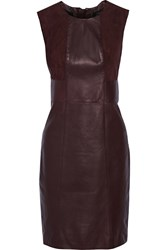 Belstaff Cambourne Suede Paneled Leather Dress Red