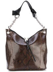 Jimmy Choo Slouchy Tote Women Leather Python Skin One Size Brown