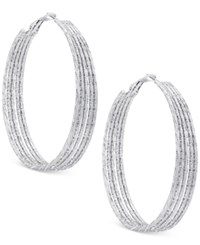 Guess Multi Row Textured Hoop Earrings Silver