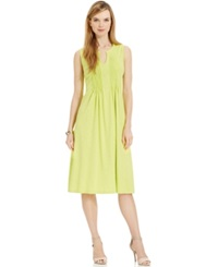 Jones New York Signature Petite Sleeveless Pleated A Line Dress Lime