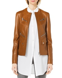 Michael Kors Leather Moto Zip Front Jacket