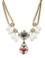 Gerard Yosca Gem Cluster Faux Pearl Necklace Gold