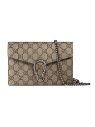 Gucci Dionysus Gg Supreme Chain Wallet Women Leather Canvas Metal One Size Nude Neutrals