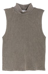 Project Social T Annie Thermal Sleeveless Mock Neck Top Mw Smoky Noir