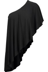 Norma Kamali One Shoulder Draped Stretch Jersey Blouse Black