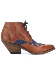 Buttero Blue Lace Detail Boots Women Leather 38 Brown
