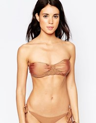 South Beach Macrame Bandeau Bikini Top Bronze Copper