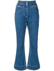 Ulla Johnson Cropped Flared Trousers Blue