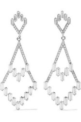 Cz By Kenneth Jay Lane Woman Rhodium Plated Crystal Earrings Silver