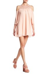 Want And Need Cold Shoulder Crochet Trim Tunic Pink