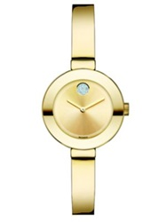 Movado Bold Crystal And Goldtone Ip Stainless Steel Bangle Bracelet Watch 25Mm