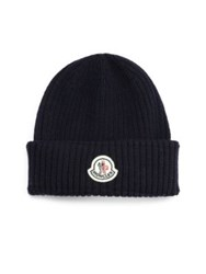 Moncler Ribbed Virgin Wool Beanie Blue