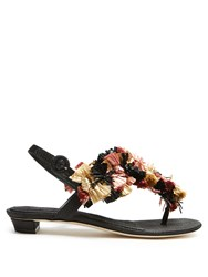 Sanayi 313 Gongora Raffia Embellished T Bar Sandals Multi