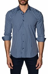 Jared Lang Trim Fit Sport Shirt Navy Check